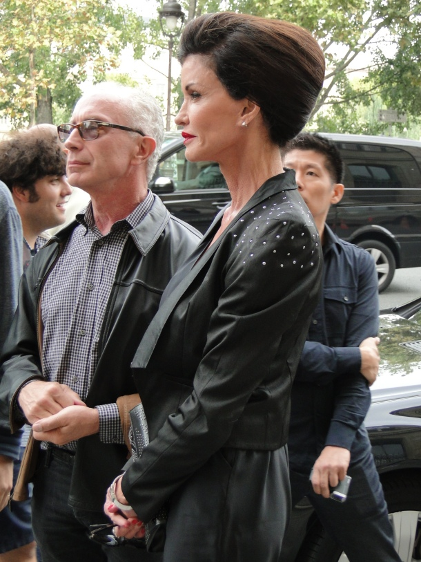 Janice Dickinson outside the Valentin Yudashkin show