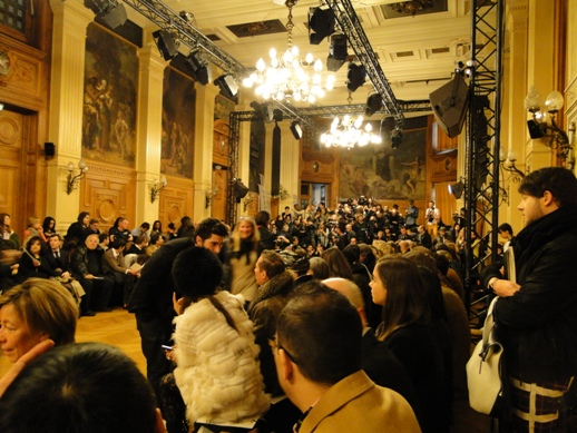Waiting for the show to start at Paris Couture Week