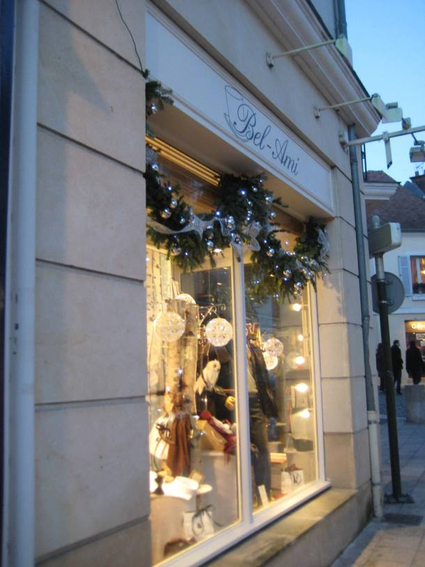 Shop decorated for Christmas