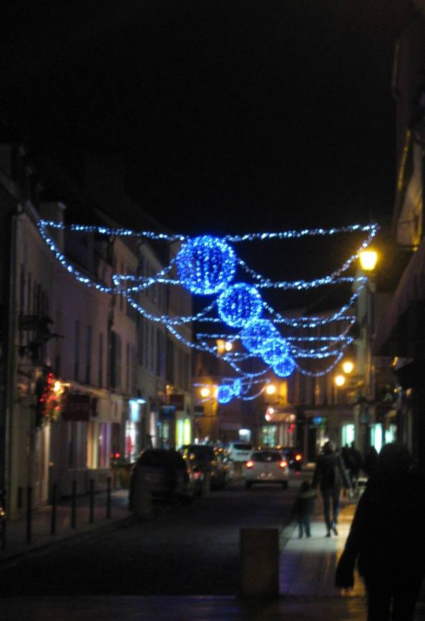 Lights strung across the main street