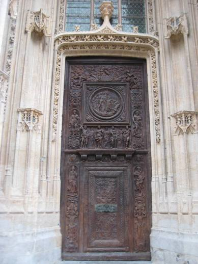 Carved Wooden Door at the Church
