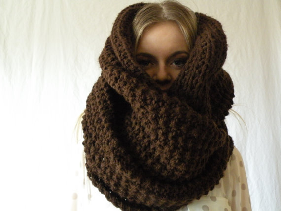 Brown Infinity Chunky Oversized Long Knit Wrap in Espresso by ReganEdesigns