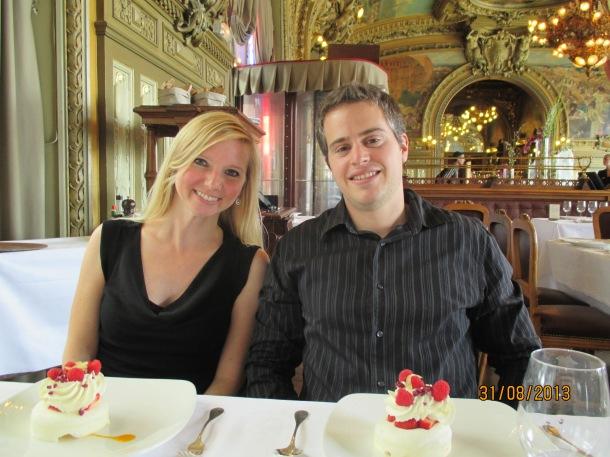 Thomas and I enjoying a dessert at Le Train Blue