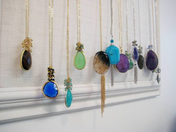 Necklaces for sale in the atelier